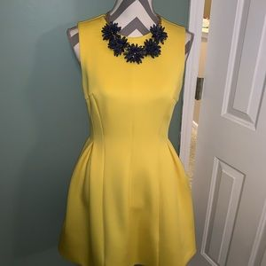 Yellow neoprene Calvin Klein A line dress